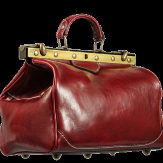 Červená kožená kabelka Regina Rossa