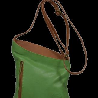 Zelené kožené kabelky Angola Verde Camel