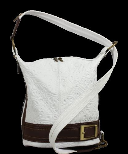 Kožená kabelka crossbody Adele Stampa Bianca