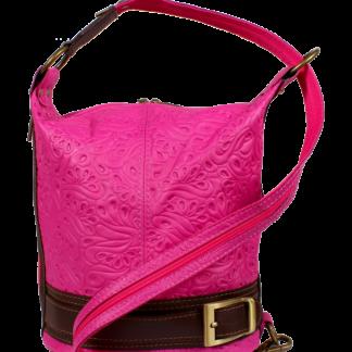Kožená kabelka crossbody Adele Stampa Fuxia