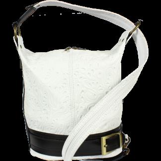 Kožená kabelka crossbody Adele Stampa Bianca Nera