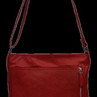 Červené kožené kabelky crossbody Flora Rossa