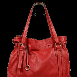 Červená kožená kabelka Maria Rossa Scura
