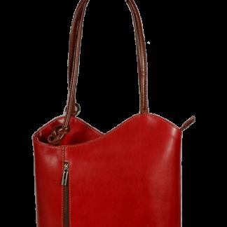 Červená kožená kabelka Clarise Rossa Marrone